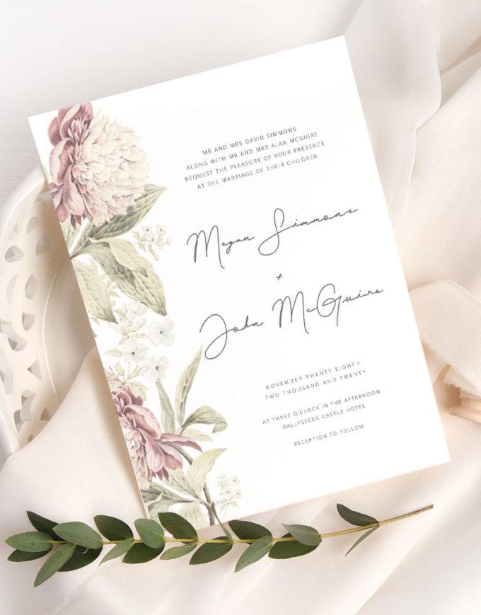 floral wedding invites